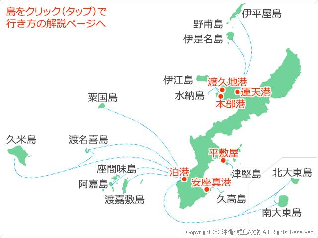 本島周辺の離島と港の位置関係