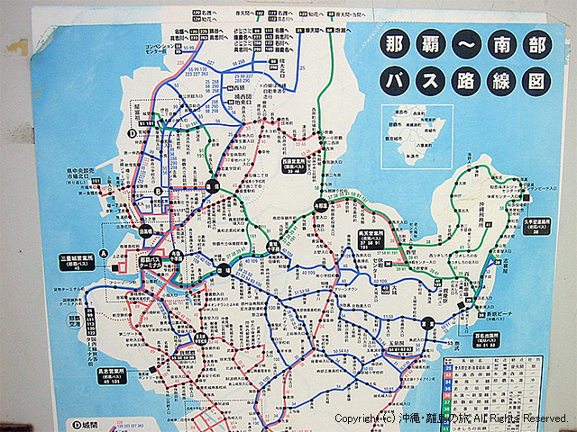 中南部のバス路線図