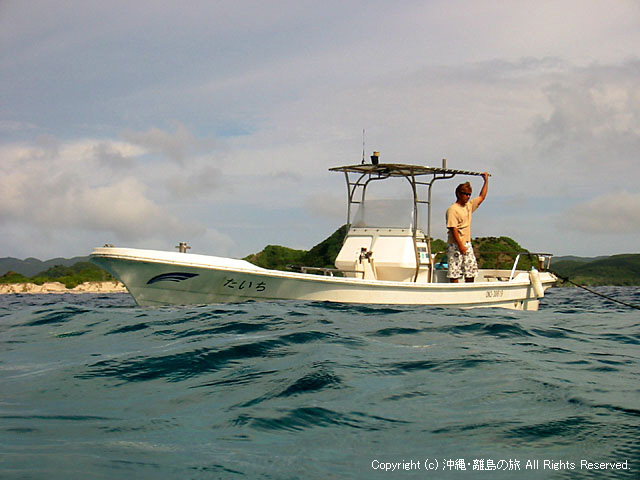 オーナーの船。さまざまな遊びが楽しめます。