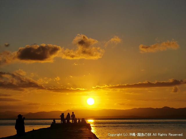定番の西桟橋の夕日