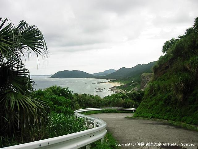 坂の途中から見下ろす島の東側