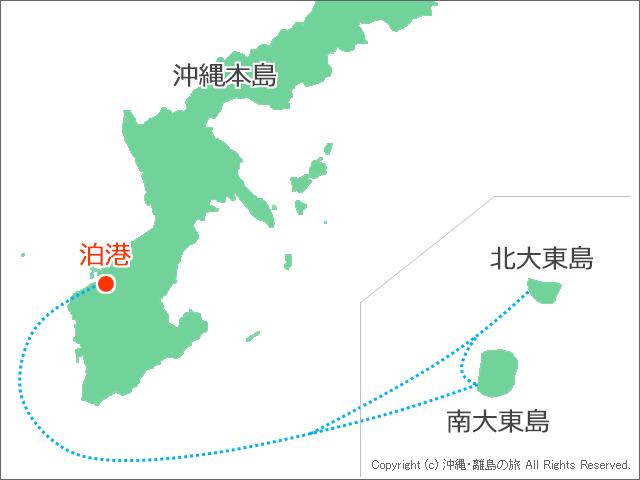 泊港と北大東島、、南大東島の位置関係