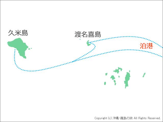 泊港と渡名喜島、久米島の位置関係